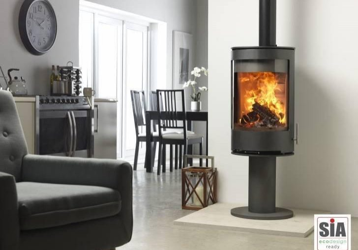 Purevision-PVR-Cylinder-multi-fuel-stove-on-pedestal-stands