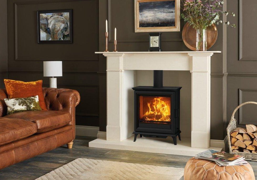 Sheraton 5 Wide multi-fuel with Limestone Claremont Mantel